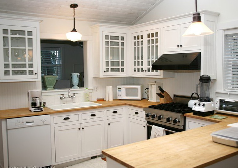 White Kitchen Cabinets With Wood Countertops