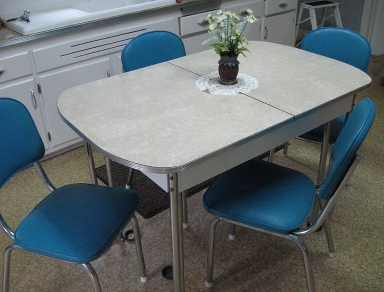 White Kitchen Table With Blue Chairs