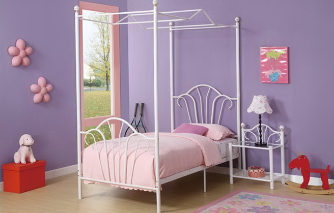 White Twin Canopy Bed