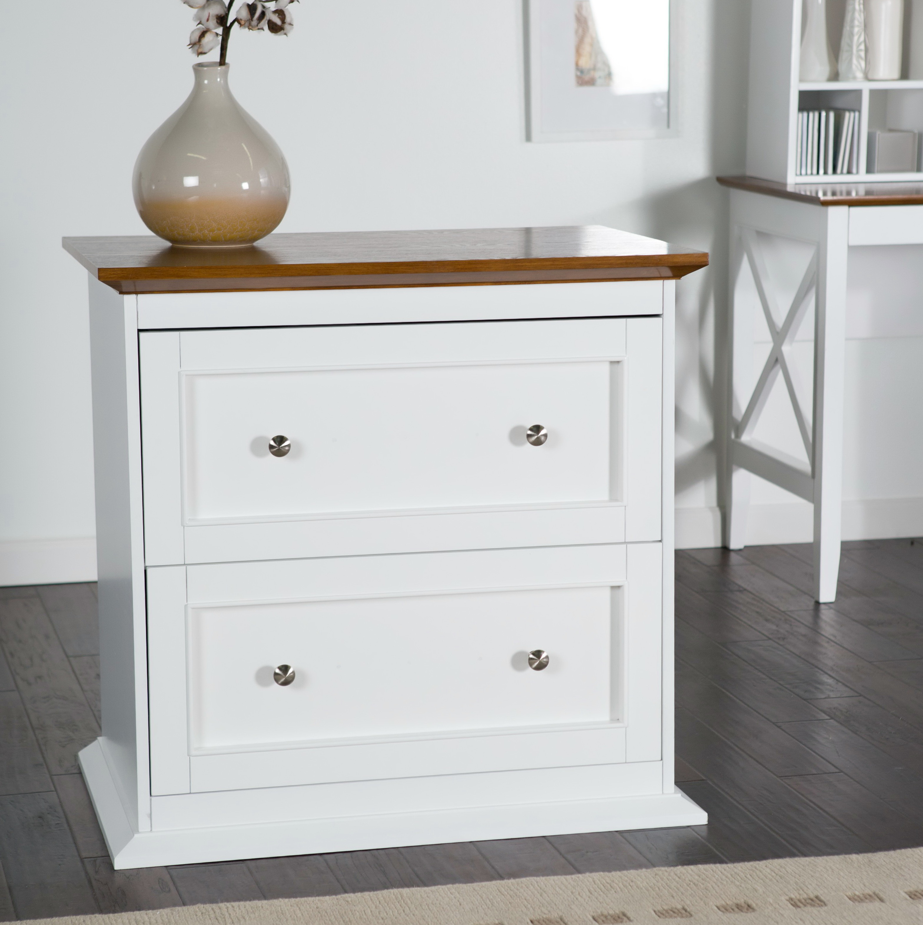 White Two Drawer File Cabinet