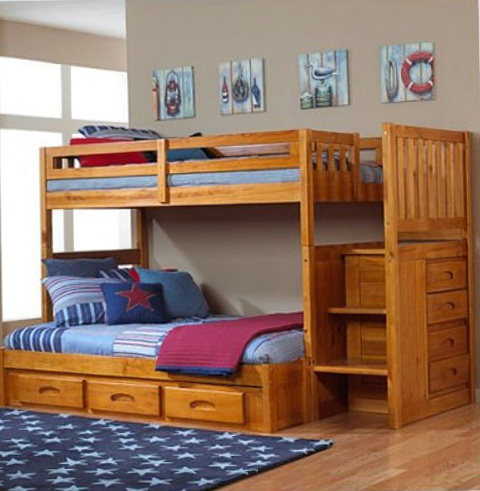 Wood Bunk Beds With Stairs