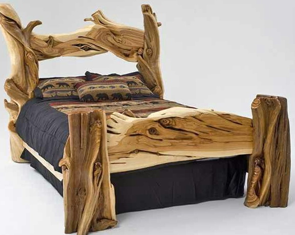 Wooden Log Bed Frames