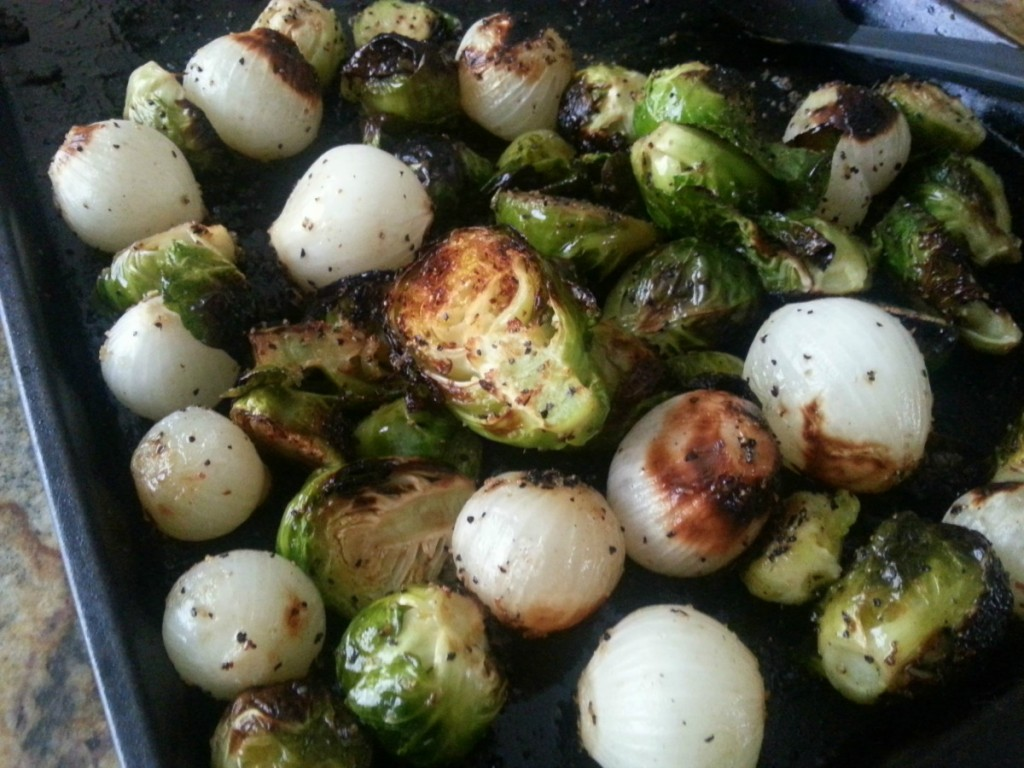 Grilled Brussels Sprouts and Onions out of the oven #ABRecipes