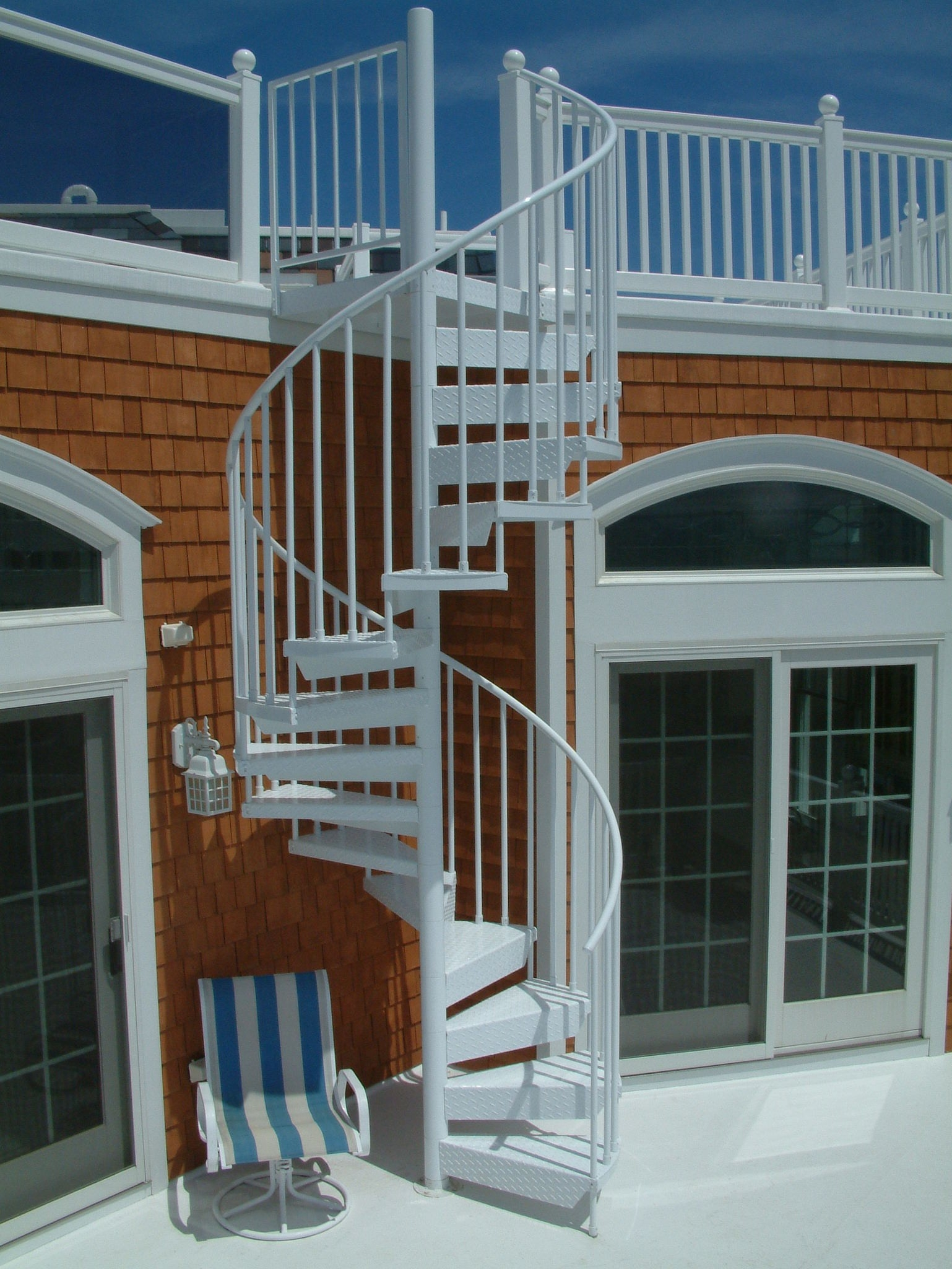Exterior Spiral Staircases Look Stunning And Save Space In | Used Spiral Staircase For Sale | Vertical | Exterior | Contemporary | Wrought Iron | Curved