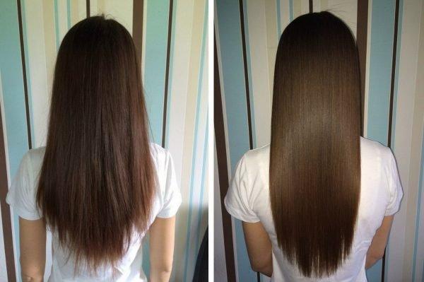 Antes e depois da laminação do cabelo