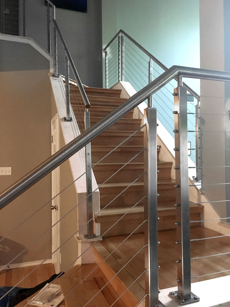 Typical To Extraordinary Cable Railing Staircase Agsstainless Com | Modern Cable Stair Railing | Entry Foyer | Staircase Remodel | Stair Treads | Glass Railing | Deck Railing