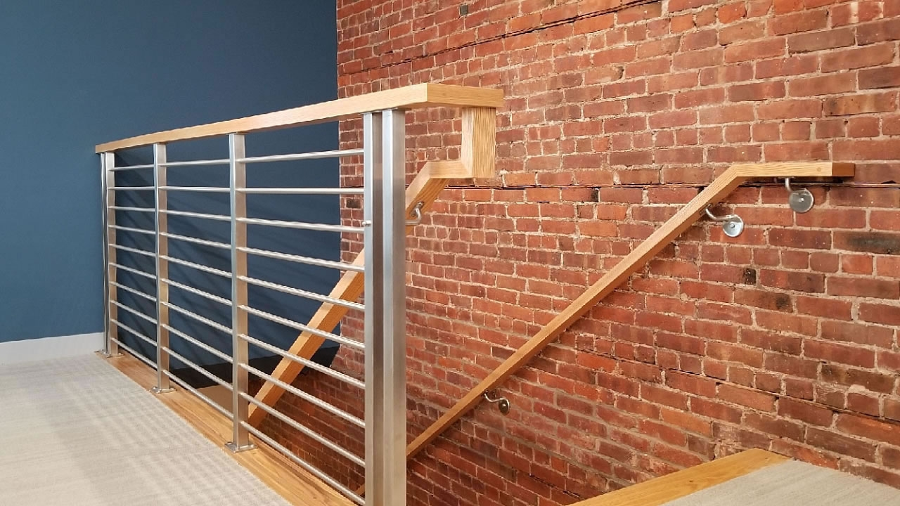 Olympus Horizontal Bar An Industry First Free Estimate   Wood And Steel Handrail   Wood Framed   Interior   Round   Rustic   Glass