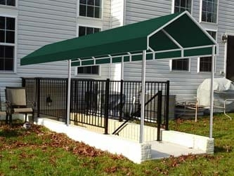 Basement Awnings And Stairway Awnings A Hoffman | Outdoor Basement Stairwell Covers | Sloped | Step | Outside | Window Well | Basement Egress Door