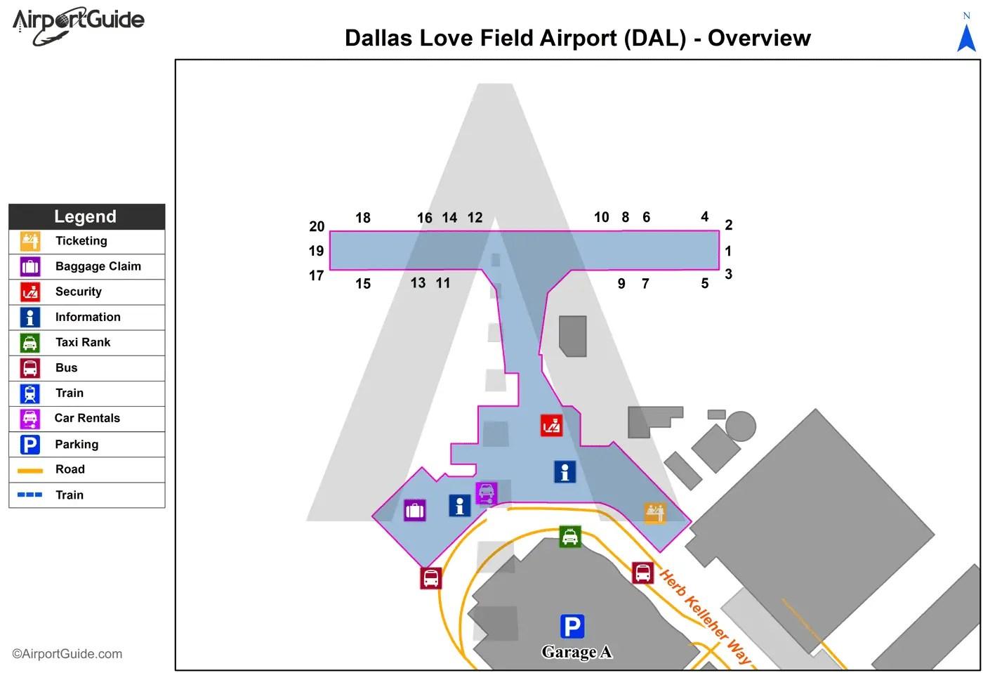 Field Dallas Love Terminal Map Airport