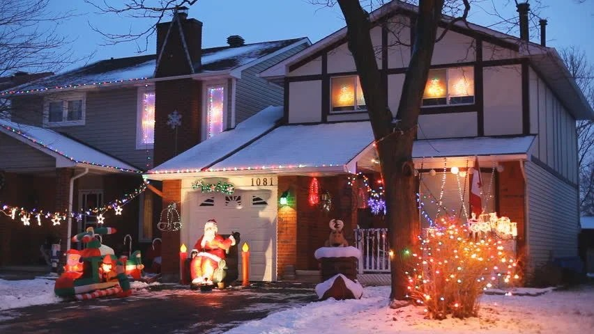 Stock Video Clip Of North American Houses Brightly Light