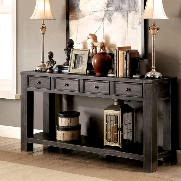 Shop Furniture of America Cosbin Bold Antique Black 4 drawer Sofa     Shop Furniture of America Cosbin Bold Antique Black 4 drawer Sofa Table    On Sale   Free Shipping Today   Overstock com   11459895