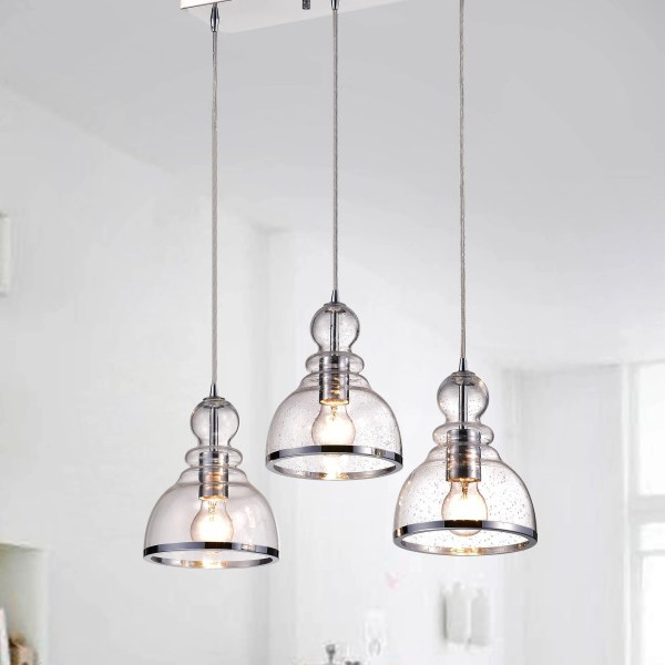 Shop Alita Iron 3 light Clear Bubble Glass Cluster Pendant With     Shop Alita Iron 3 light Clear Bubble Glass Cluster Pendant With Chrome  Finish   Free Shipping Today   Overstock com   17306793