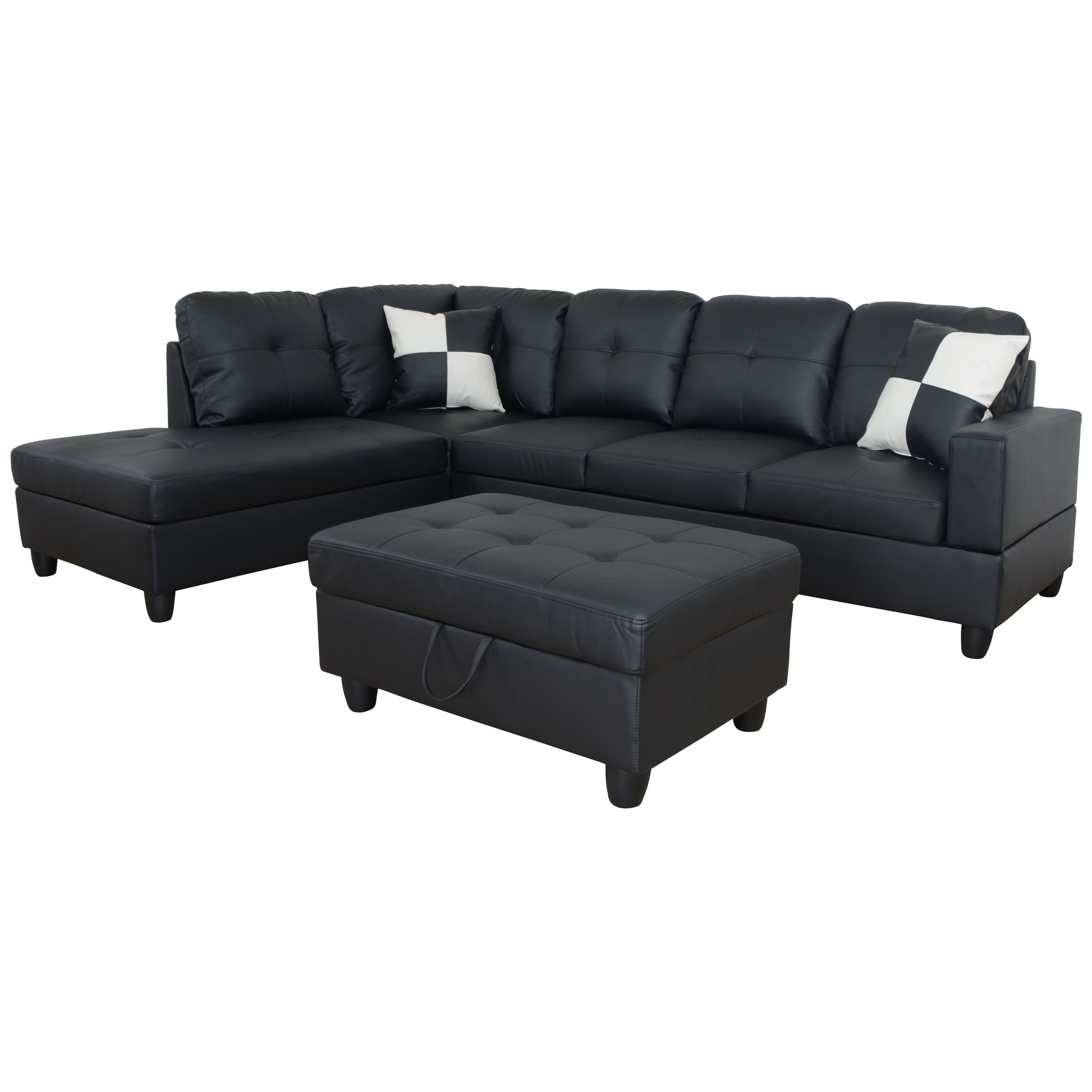 Shop Aycp Furniture L Shape Sectional Sofa With Storage Ottoman Aycp ...