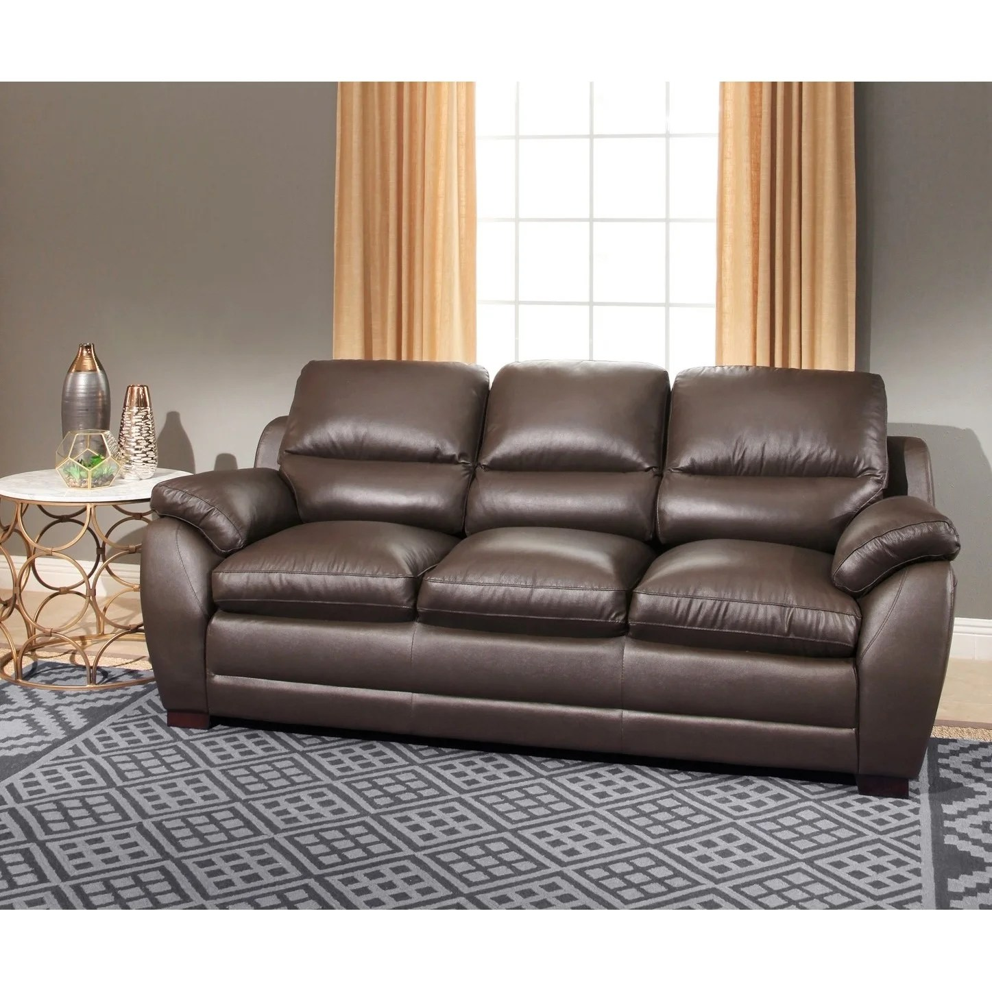 Best Kitchen Gallery: Abbyson Monarch 3 Piece Top Grain Leather Sofa Set Free Shipping of Leather Sofa Set  on rachelxblog.com