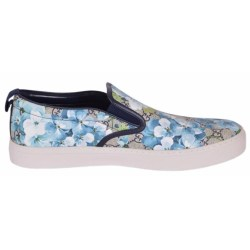 2d832ebde24 Gucci Men s 407362 Gg Blooms Blue Coated Canvas Slip On Sneakers