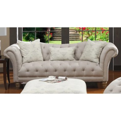 Shop Hutton Off White Linen Look Button Tufted Sofa   Free Shipping     Hutton Off White Linen Look Button Tufted Sofa