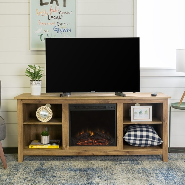 58 Inch Barnwood Wood Tv Stand With Fireplace Free