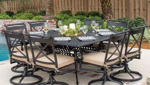 Carrolton 9 Piece Cast Aluminum Patio Dining Set With