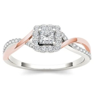 Shop De Couer IGI Certified 10k Rose Gold 1 2ct TDW Diamond Classic     De Couer IGI Certified 10k Rose Gold 1 2ct TDW Diamond Classic Criss Cross