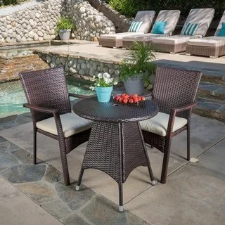 Buy Outdoor Bistro Sets Online at Overstock com   Our Best Patio     Christopher Knight Home Georgina Outdoor 3 piece Wicker Bistro Set with  Cushions