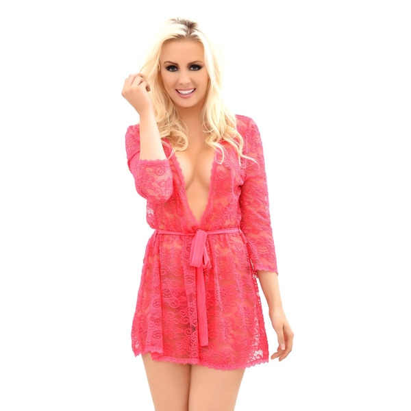 Popsi Lingerie Women's Provocative Lace Robe with Matching ...