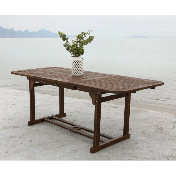 Shop Dark Brown Acacia Wood Outdoor Dining Table   Free Shipping On     Dark Brown Acacia Wood Outdoor Dining Table