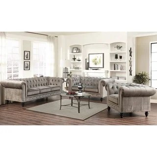 Living Room Furniture Sets For Less Sale Ends in 1 Day   Overstock com Abbyson Grand Chesterfield Grey Velvet 3 Piece Living Room Set