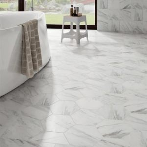 Buy Floor Tiles Online at Overstock com   Our Best Tile Deals SomerTile 8 625 x 9 875 inch Marmol Carrara Hex Porcelain Floor and Wall  Tile  Case