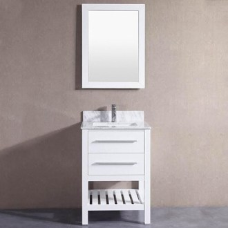 Shop 24 inch Belvedere White Bathroom Vanity with Marble Top and     24 inch Belvedere White Bathroom Vanity with Marble Top and Backsplash