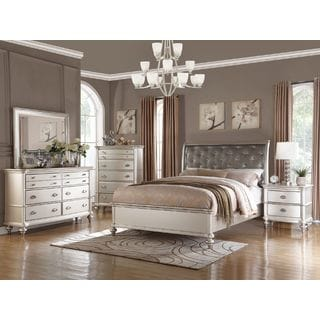 Buy Bedroom Sets Online at Overstock com   Our Best Bedroom     Silver Orchid Olivia 6 piece Silver Bedroom Furniture Set