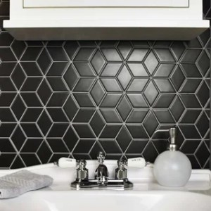 Black Tile   Find Great Home Improvement Deals Shopping at Overstock com SomerTile 10 5x12 125 inch Victorian Rhombus Matte Black Porcelain Mosaic  Floor and Wall