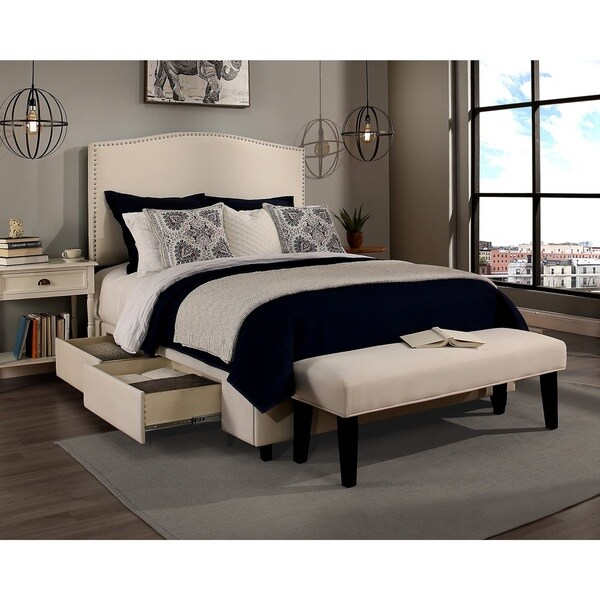 Shop Republic Design House Newport Ivory Upholstered Queen size     Republic Design House Newport Ivory Upholstered Queen size Headboard  Storage  Bed and Bench