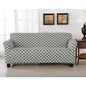 Buy Sofa   Couch Slipcovers Online at Overstock com   Our Best     Home Fashion Designs Brenna Collection Trellis Print Stretch Form Fitted Sofa  Slipcover