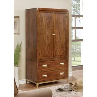 Buy Armoires   Wardrobe Closets Online at Overstock com   Our Best     Furniture of America Tamelia Transitional Gold Tipped Dark Oak 2 drawer  Double door Armoire