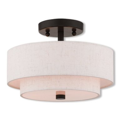 Livex Lighting Claremont Bronze finished Steel 2 light Indoor Flush     Livex Lighting Claremont Bronze finished Steel 2 light Indoor Flush Mount  Light Fixture with
