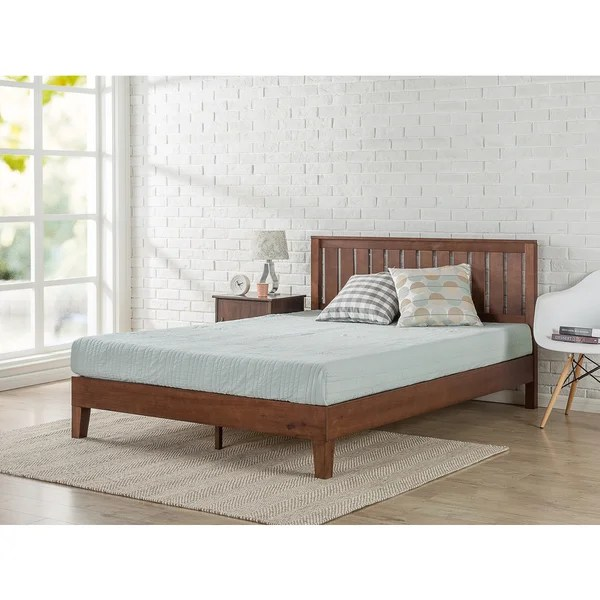 Shop Priage Deluxe Antique Espresso Wood Platform Bed with Headboard     Priage Deluxe Antique Espresso Wood Platform Bed with Headboard