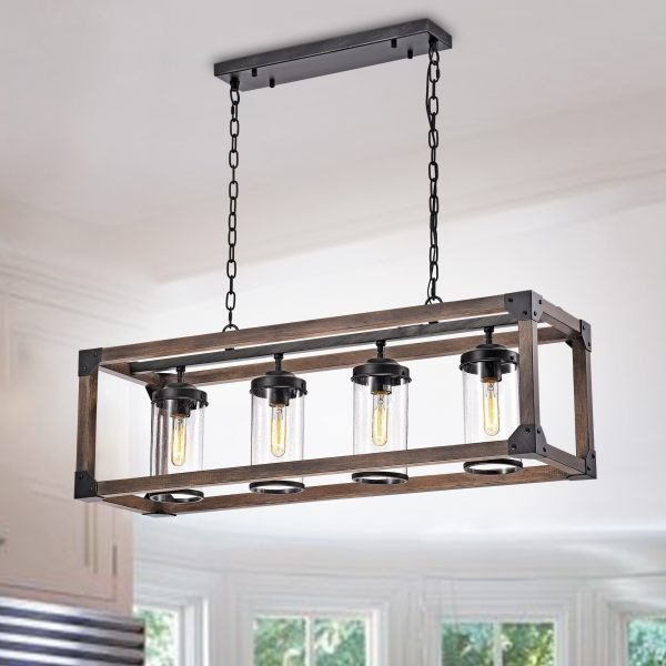 Buy Antique Ceiling Lights Online at Overstock com   Our Best     Daniela Chic Antique Black Metal and Wood Bubble Glass Cylinders  Rectangular Pendant Chandelier