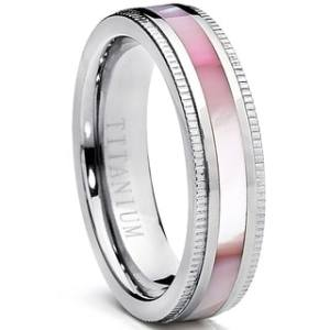 Buy Titanium Women s Wedding Bands Online at Overstock com   Our     Oliveti Women s Titanium Ring with Pink Mother of Pearl Inlay Band 6mm