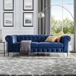 Buy Blue Sofas   Couches Online at Overstock com   Our Best Living     Corvus Prato Velvet Chesterfield Sofa with Rolled Arms