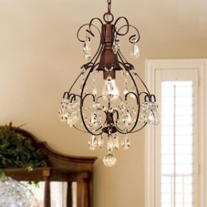 Buy Rustic Ceiling Lights Online at Overstock com   Our Best     Laurel Creek Harper Brushed Oak 1 light Teardrop Crystal Chandelier