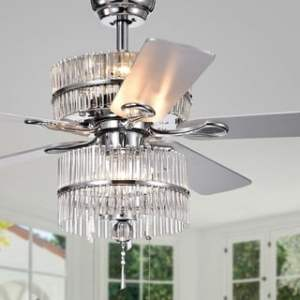 Buy Downrod Mount Ceiling Fans Online at Overstock com   Our Best     Wyllow 6 light Crystal 5 blade 52 inch Chrome Ceiling Fan  Optional