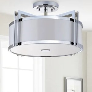 Shop Safavieh Lighting 17 125 inch Orb Drum Ceiling Light   Chrome     Safavieh Lighting 17 125 inch Orb Drum Ceiling Light   Chrome