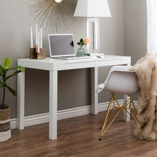 Shop Clay Alder Home Contemporary 2 drawer Student Desk in White     Clay Alder Home Contemporary 2 drawer Student Desk in White