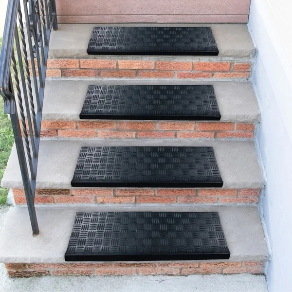 Shop Ottomanson Dirtoff Black Square Nosed Rubber Stair Treads | Rubber Treads For Outdoor Steps | Non Slip | Diamond Plate | Rubber Cal | Recycled Rubber | Rubber Matting