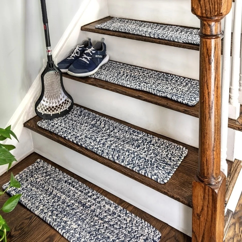 Shop Nuloom Solid Indoor Outdoor Braided Stair Treads Set Of 13 | Carpet Treads For Wooden Stairs | Commercial Rubber | Rectangular Cord Treads | Carpet Wrapped | Self Adhesive | Different Style Stair