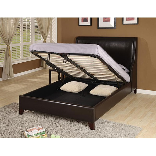 Synthetic Leather Wingback King Size Lift Storage Bed