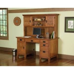Shop Home Styles Arts and Crafts Cottage Oak Pedestal Desk and Hutch     Shop Home Styles Arts and Crafts Cottage Oak Pedestal Desk and Hutch Set    Free Shipping Today   Overstock com   6539212