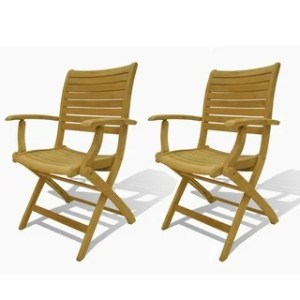 Buy Teak Patio Dining Chairs Online at Overstock com   Our Best     Clay Alder Home Barclay Teak Armchairs  Set of 2