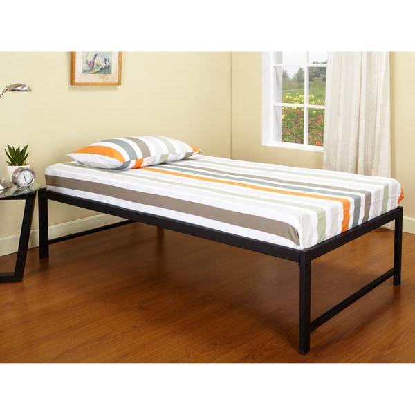 Shop K Amp B B39 1 2 Hi Riser Bed With Black Metal Frame On