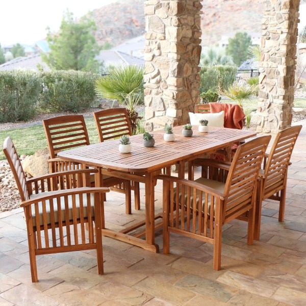 Shop 7 piece Acacia Wood Patio Dining Set   Free Shipping On Orders     7 piece Acacia Wood Patio Dining Set